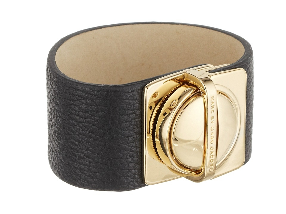 Marc by Marc Jacobs Circle In A Square Leather Bracelet (Black) Bracelet $82.99