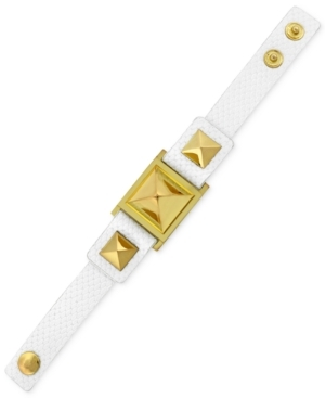 Vince Camuto Gold-Tone Textured Leather Stud Snap Bracelet $58