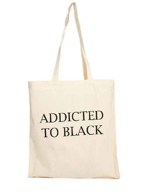 Reclaimed Vintage Addicted To Black Canvas Tote Bag $9.53