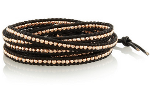 CHAN LUU Rose gold-plated and leather five wrap bracelet Shop With Sally Sally Lyndley Fashion Stylist