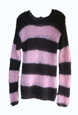 BESS NYC BLACK AND PINK STRIPED MOHAIR JUMPER Shop With Sally Sally Lyndley Fashion Stylist