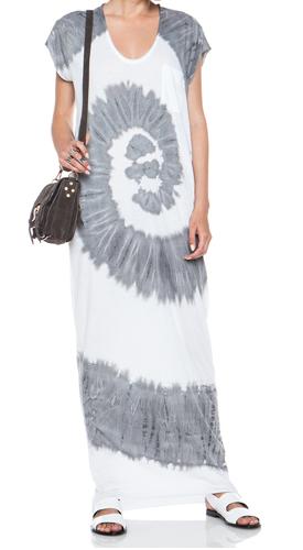 RAQUEL ALLEGRA Caftan Cotton-Blend Dress in Spiral Grey & White Shop With Sally Sally Lyndley Fashion Stylist