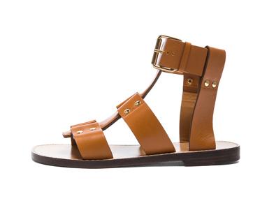 CHLOE Gladiator Leather Sandals in Teak Brown Shop With Sally Sally Lyndley Fashion Stylist