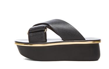 MARNI Saffiano Calfskin Leather Platform Wedge Sandals in Coal Shop With Sally Sally Lyndley Fashion Stylist