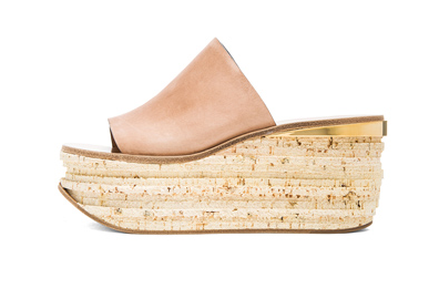 CHLOE Leather Cork Wedge Mules in Pastel Pink Shop With Sally Sally Lyndley Fashion Stylist