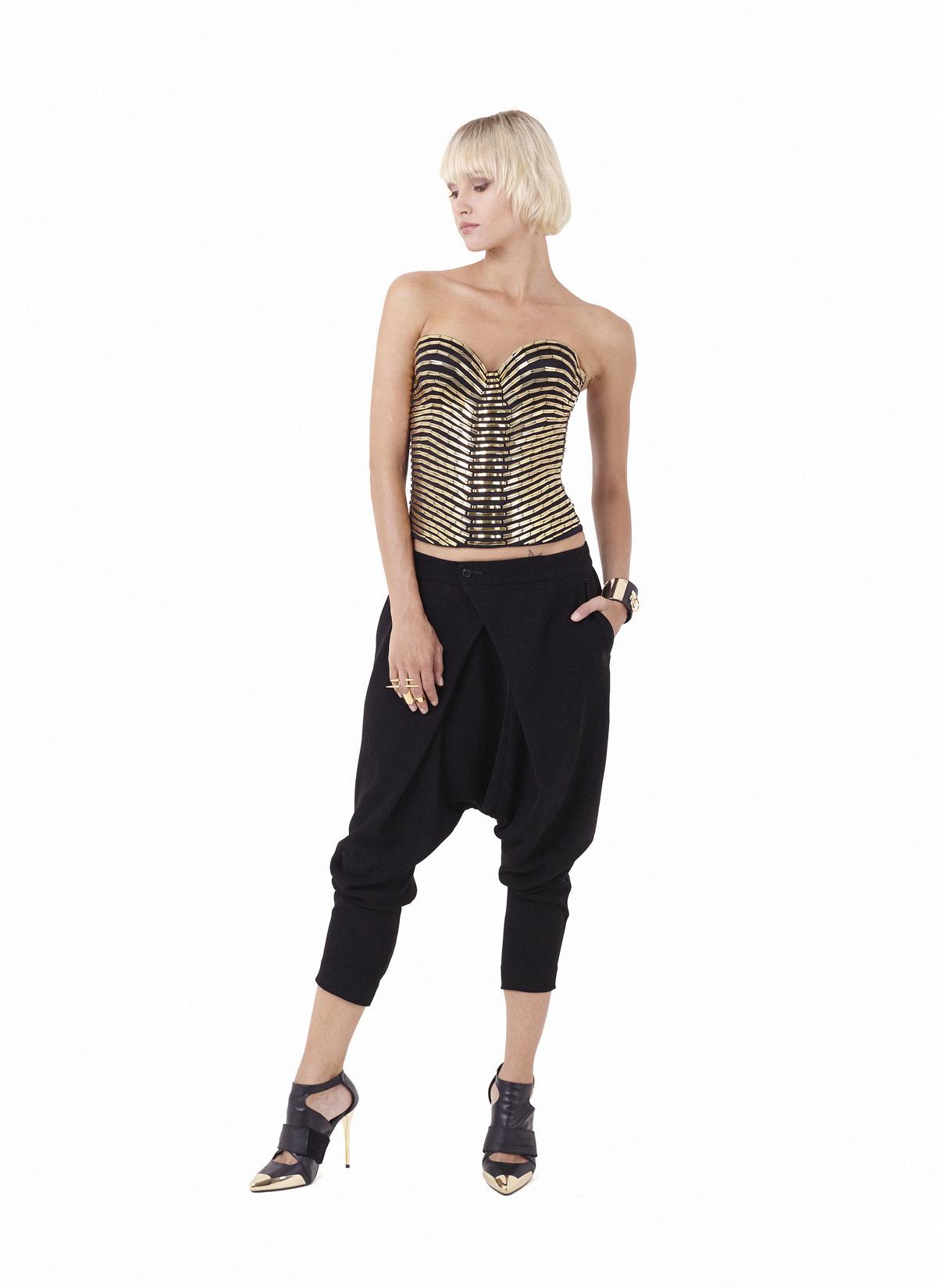 Gold obsidian corset & Ark pants