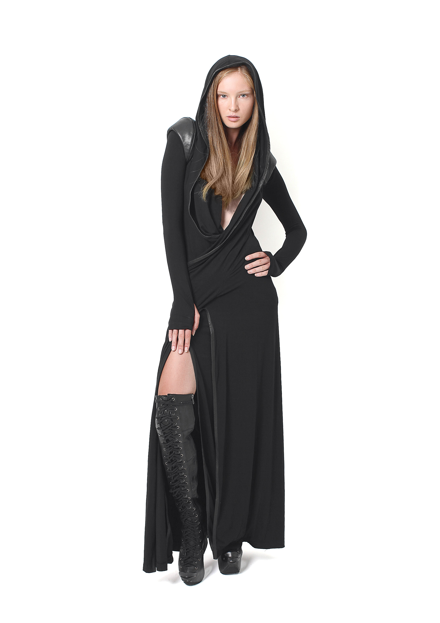 Drape Laced Dress, Long Plated Boots