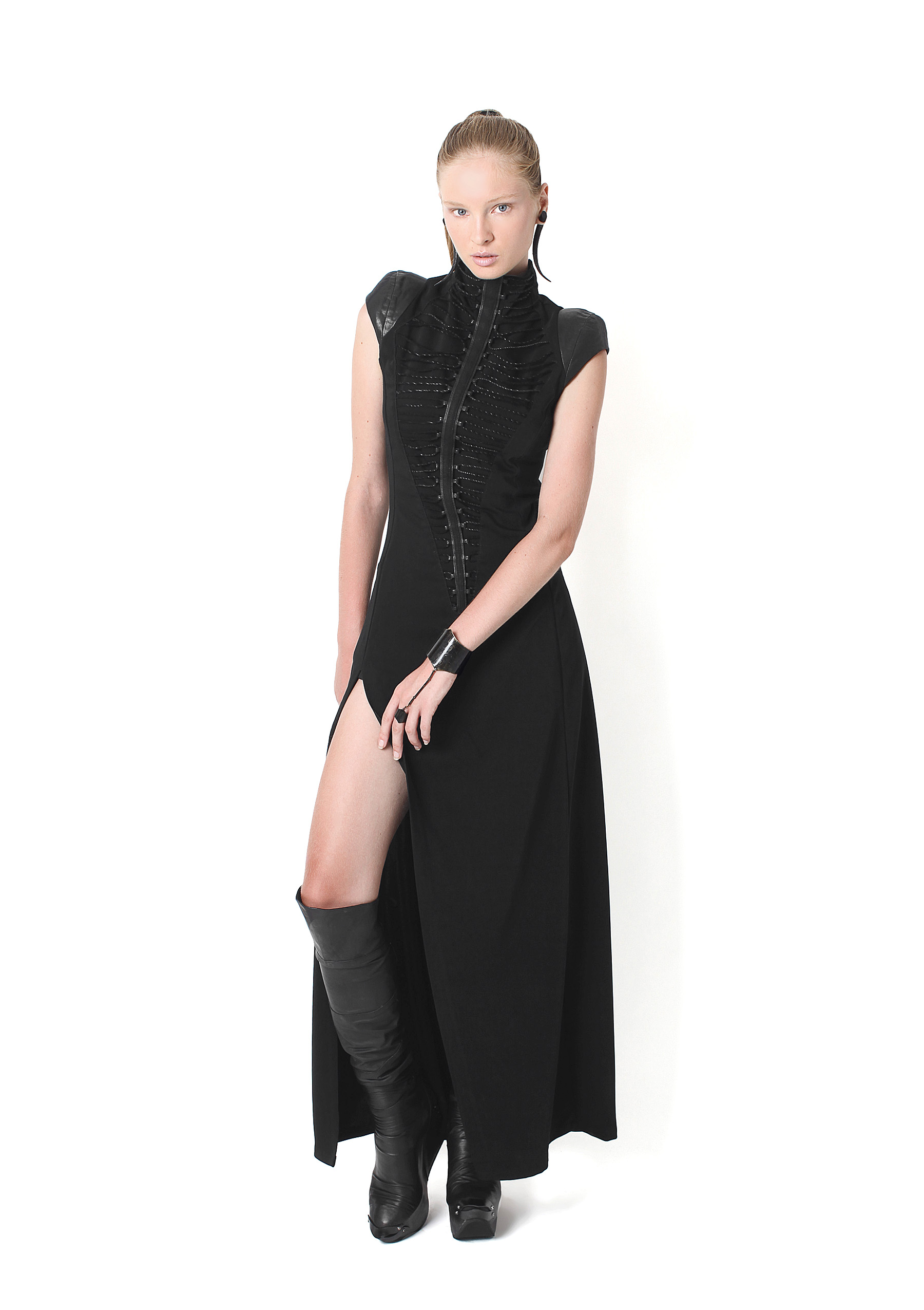 Open Laced Dress, Plated Buccaneer Boots