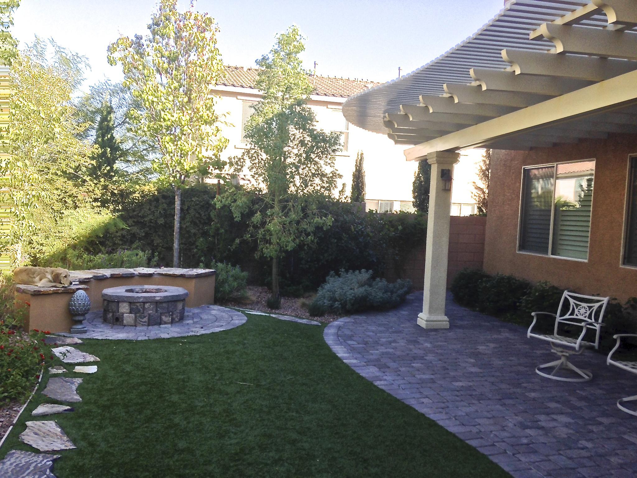 Back yard trellis, firepit