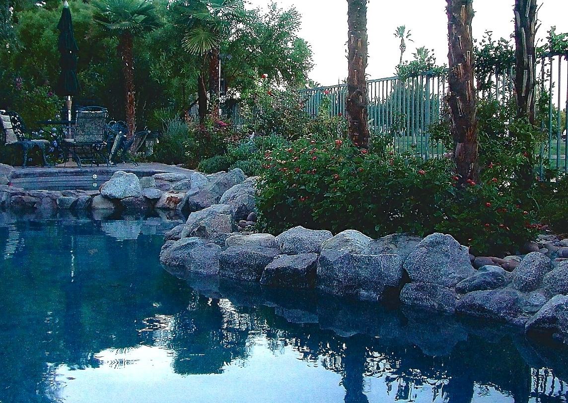 Pool and spa with natural rock