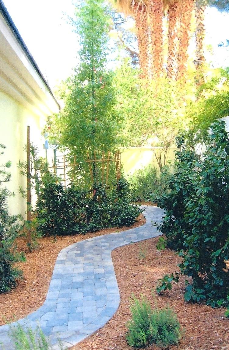 Side yard meandering walkway