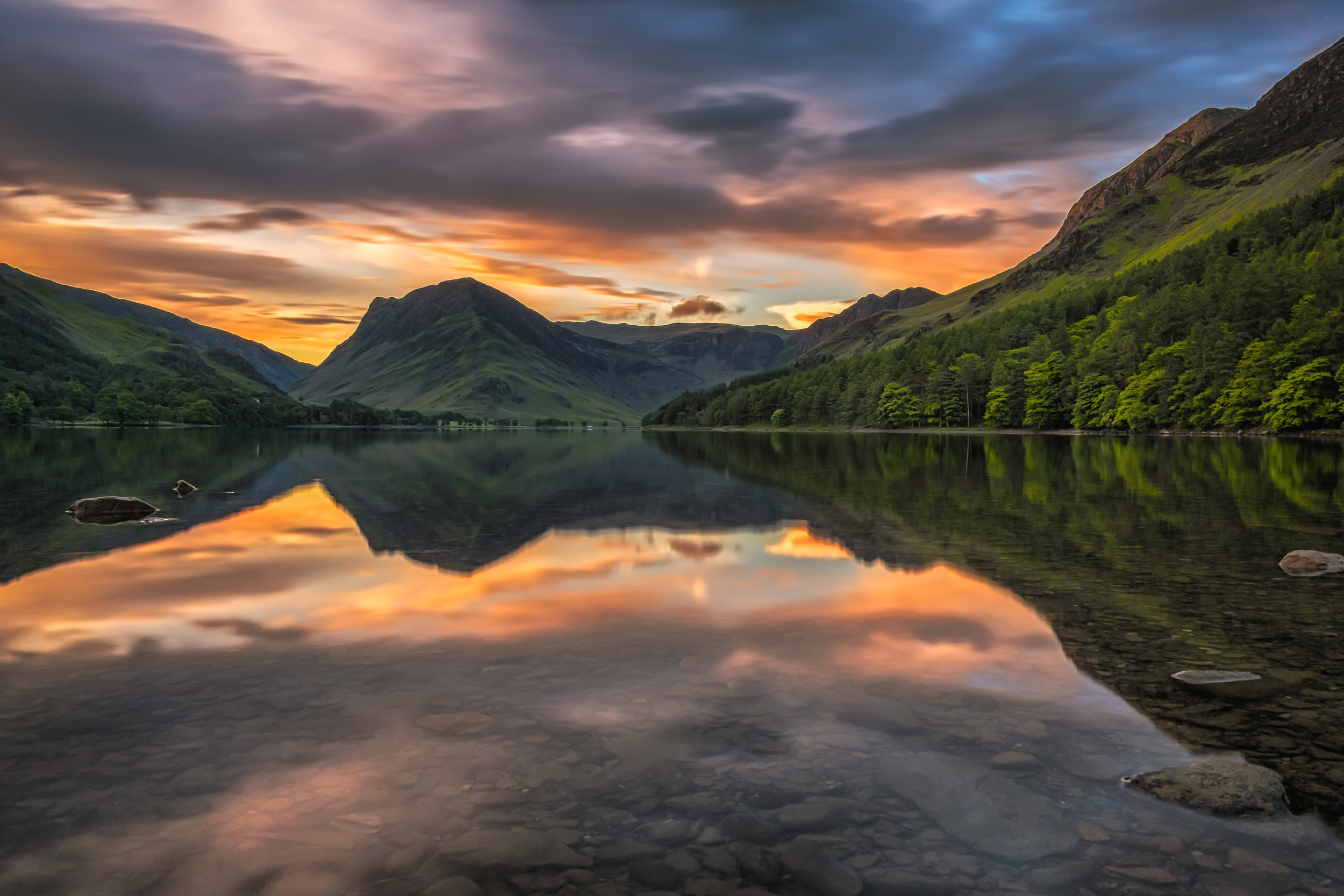 First light over Buttermere. Fujifilm X-T1 + 18mm f/2 @ f/13. ISO 200. B+W ND Filter. 30 Second Exposure.