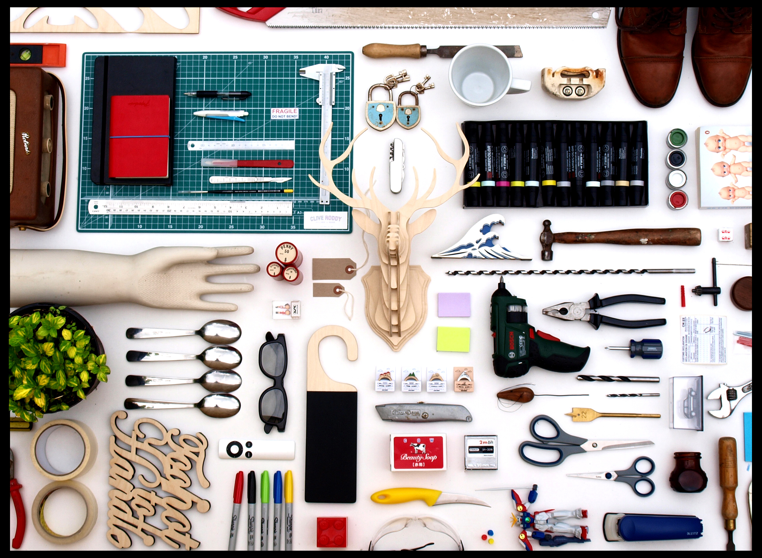 This image is a self portrait of objects that relate directly to me and my work.  Find out more.