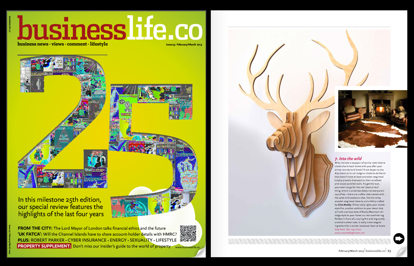 'Stag Head Trophy' featured in Business Life magazine. Published in February 2013. UK.