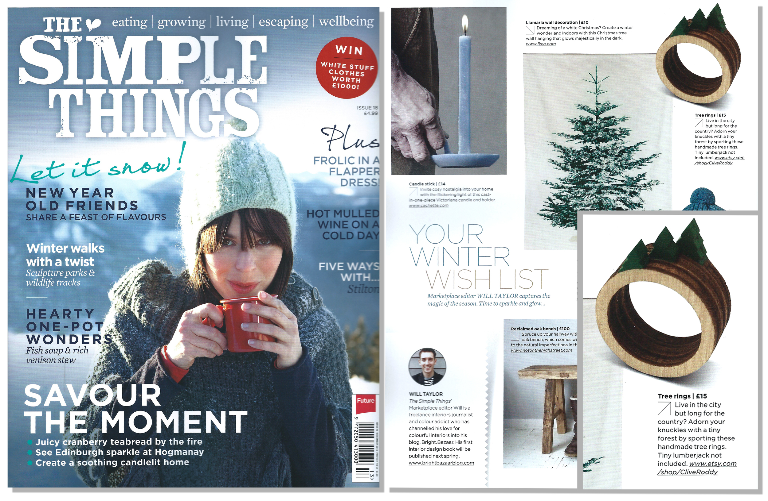'Tree Rings' featured in Simple Things Magazine. Published in December 2013. UK.
