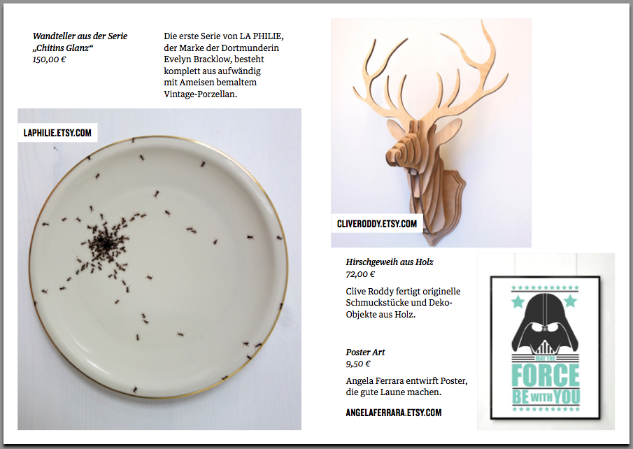 'Stag Head Trophy' featured in the Stilwerk Booklet for Etsy. Published in December 2013. UK.