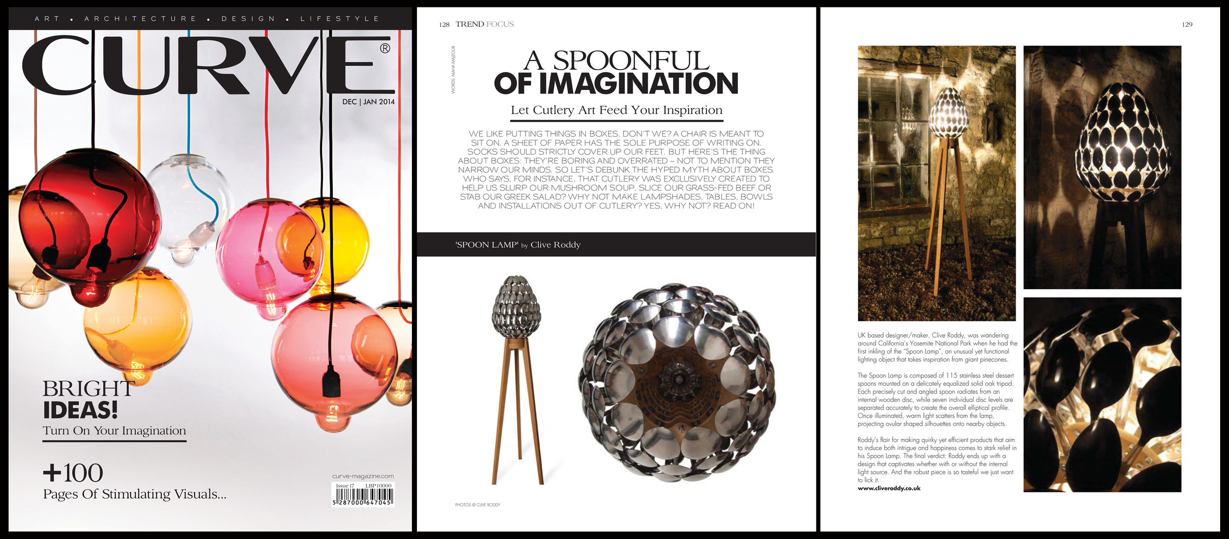 'Spoon Lamp' featured in Curve Magazine. Published in January 2014. Lebanon.  LINK