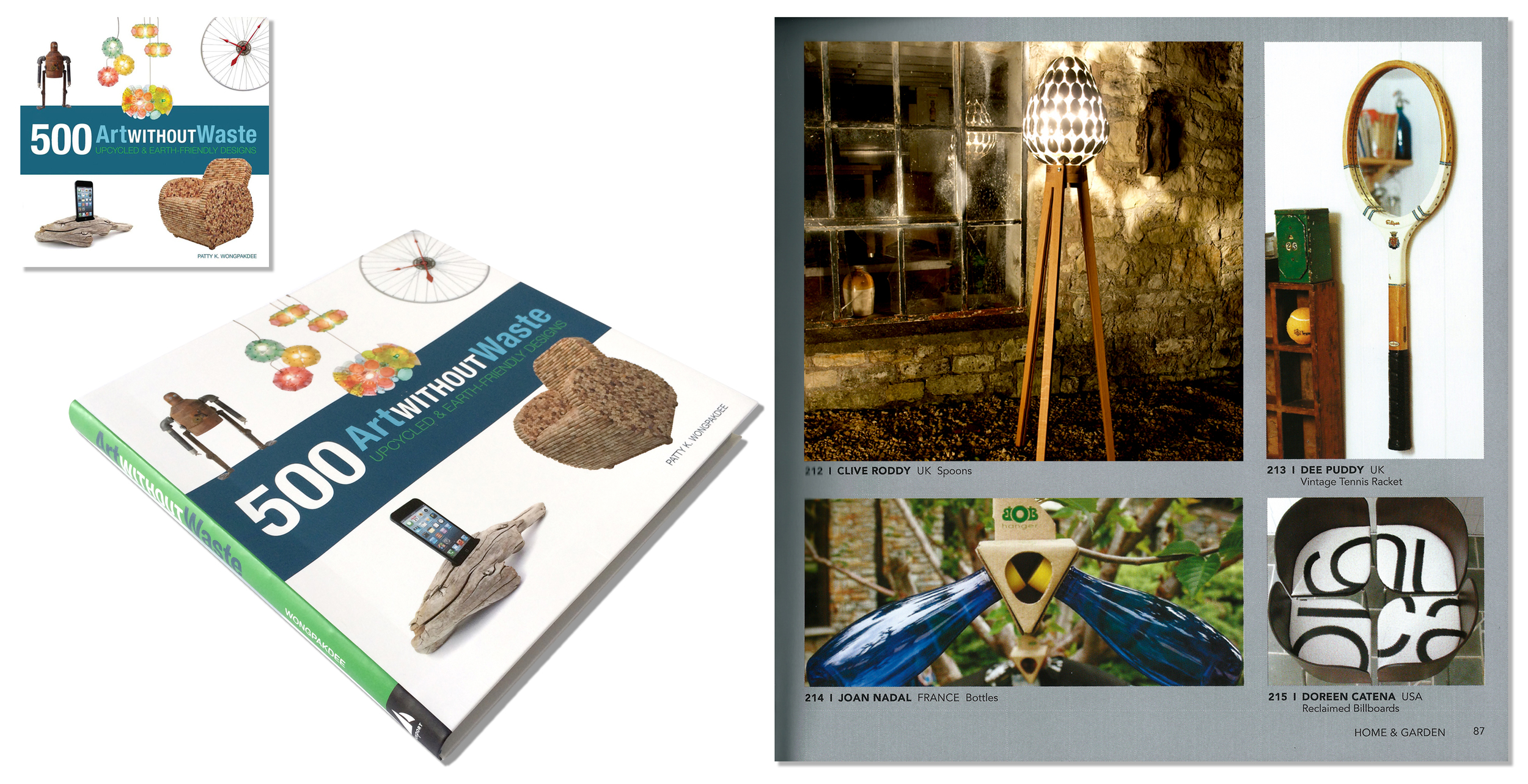 'Spoon Lamp' featured in design book 'Art without waste'. Published in 2014.USA.