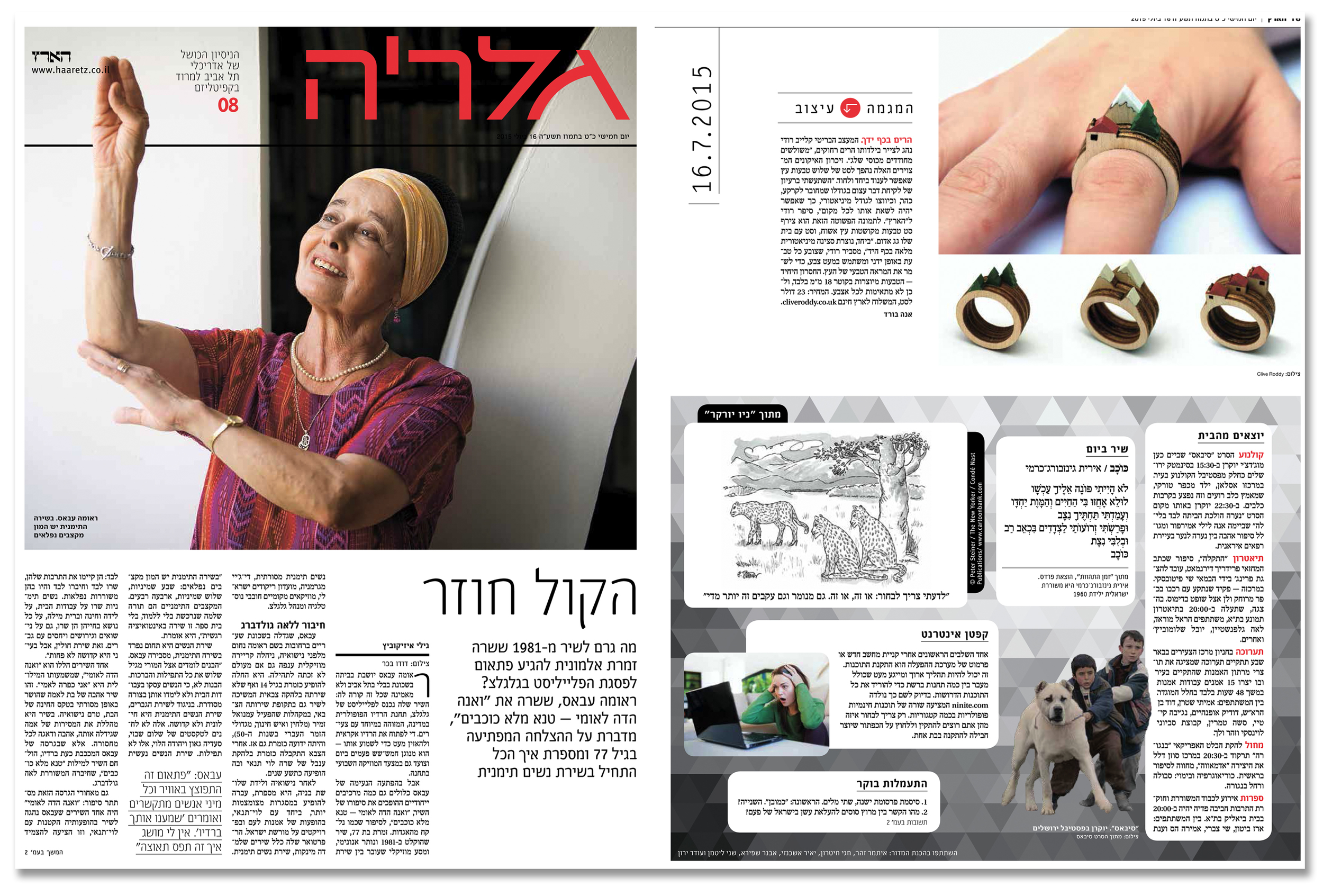 'Landscape Rings' featured in I  sraeli newspaper   Haaretz. Published in July 2015. Israel.