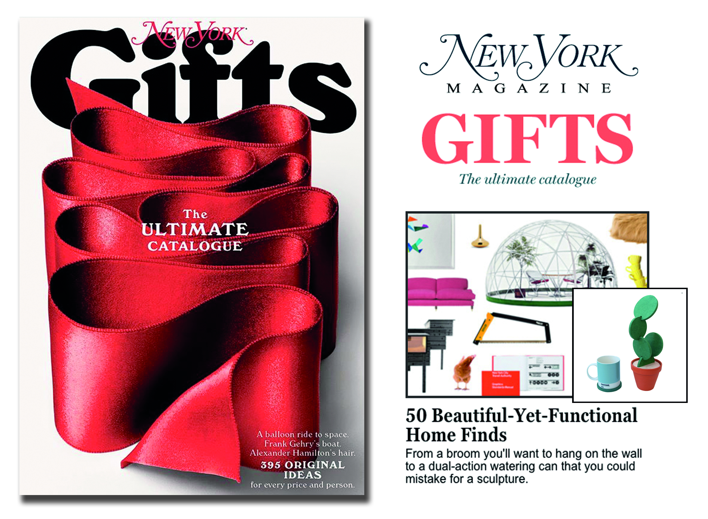'Cacti Coasters' featured in New York Magazine's 2015 Gift Guide  . Published in November 2015. USA.