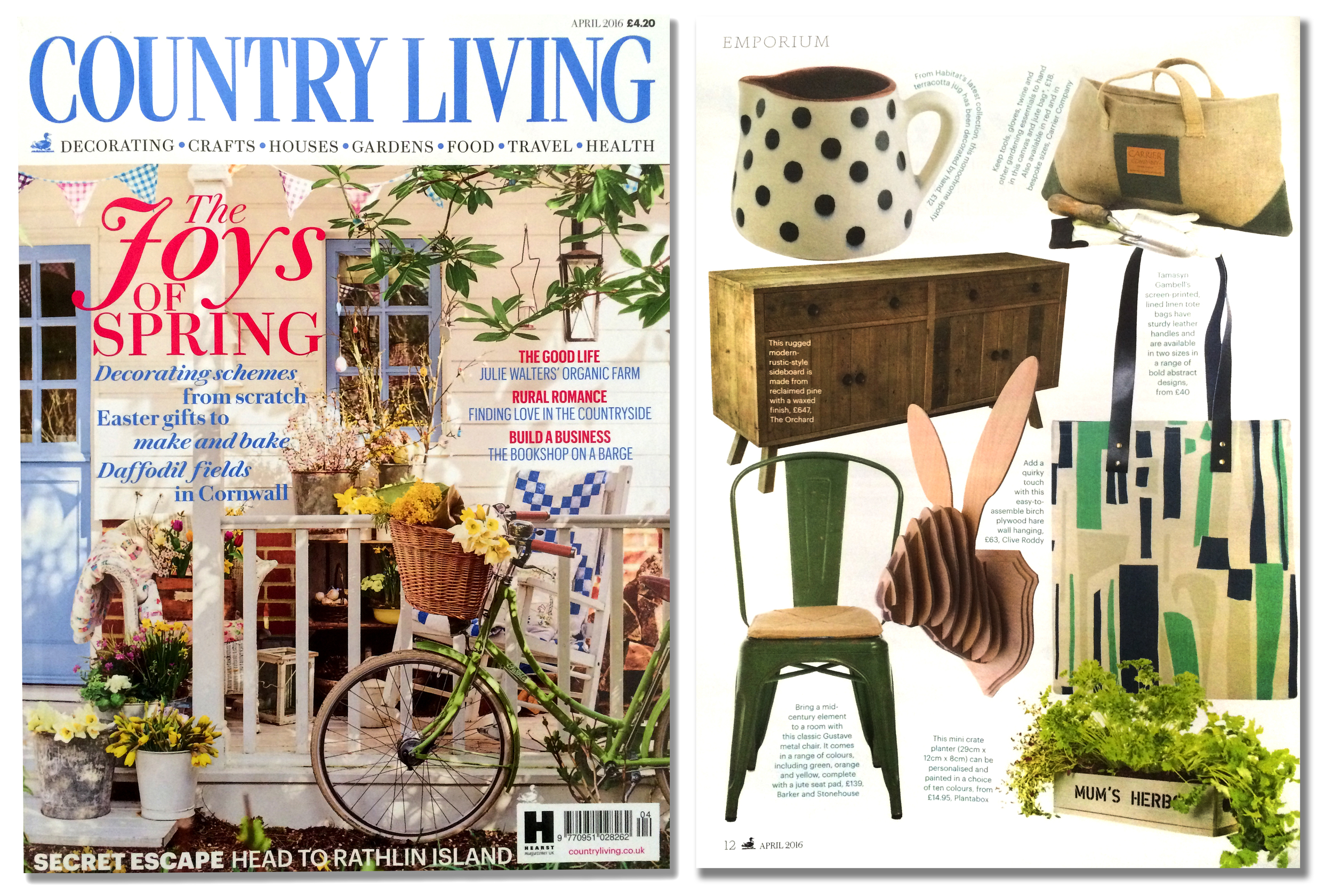 'Hare Trophy' featured in the April edition of  'Country Living' magazine. Published in March 2016. UK.