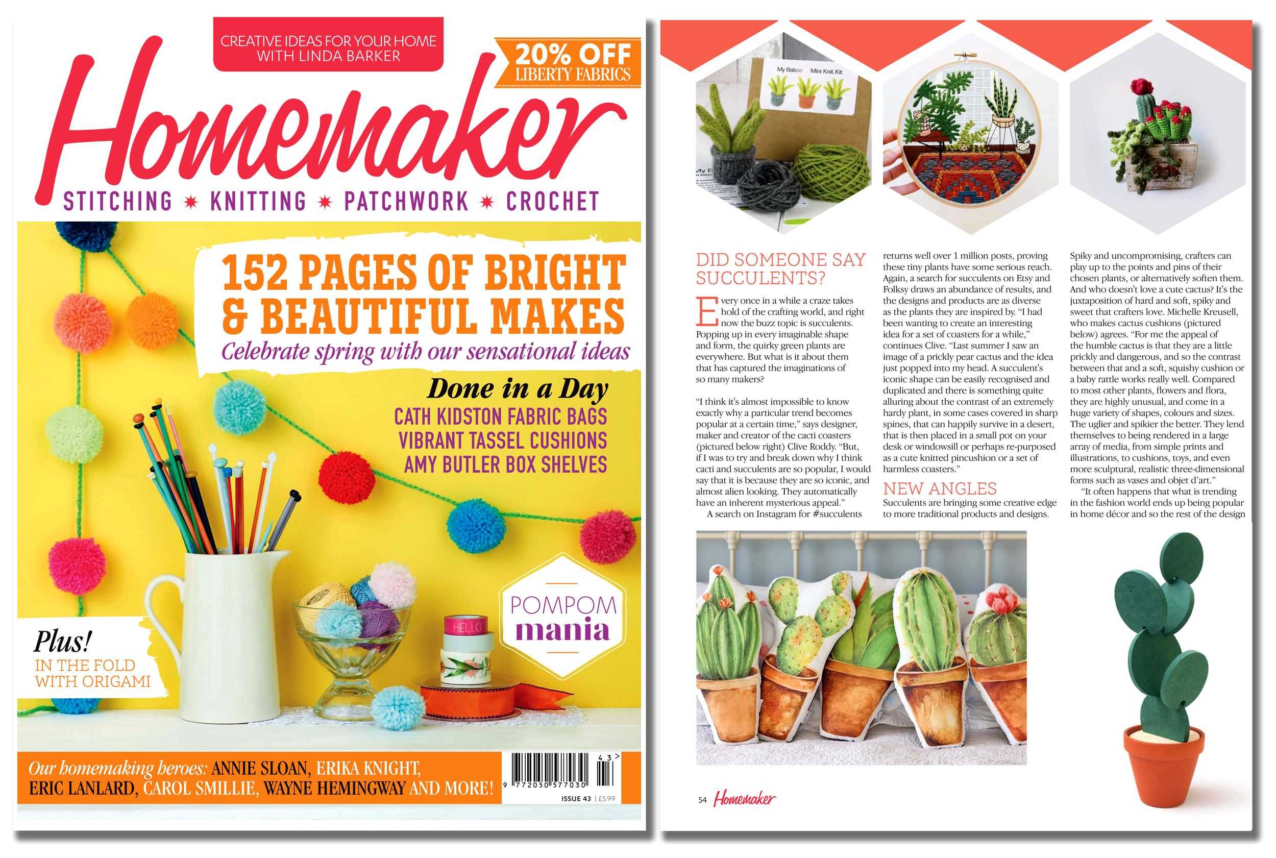 'Cacti Coasters' featured in Homemaker  magazine  . Published in April 2016. UK  .