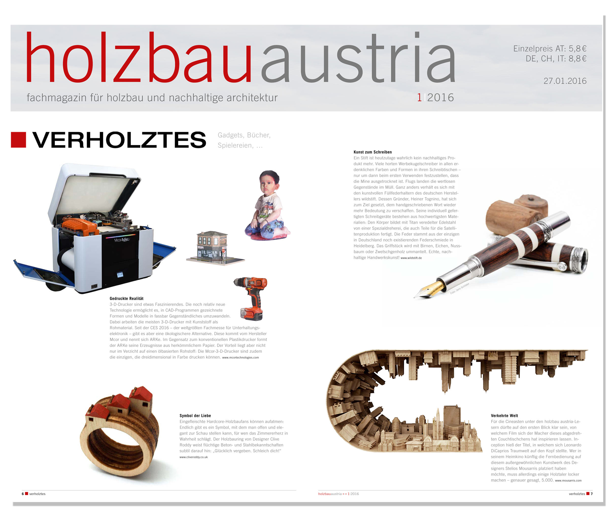 'House Rings' featured in  Austrian  architecture magazine 'H olzbauaustria' . Published in January 2016. Germany  .