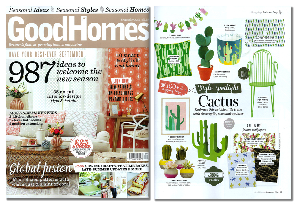 'Cacti Coasters' featured in GoodHomes Magazine  . Published in August 2016. UK  .