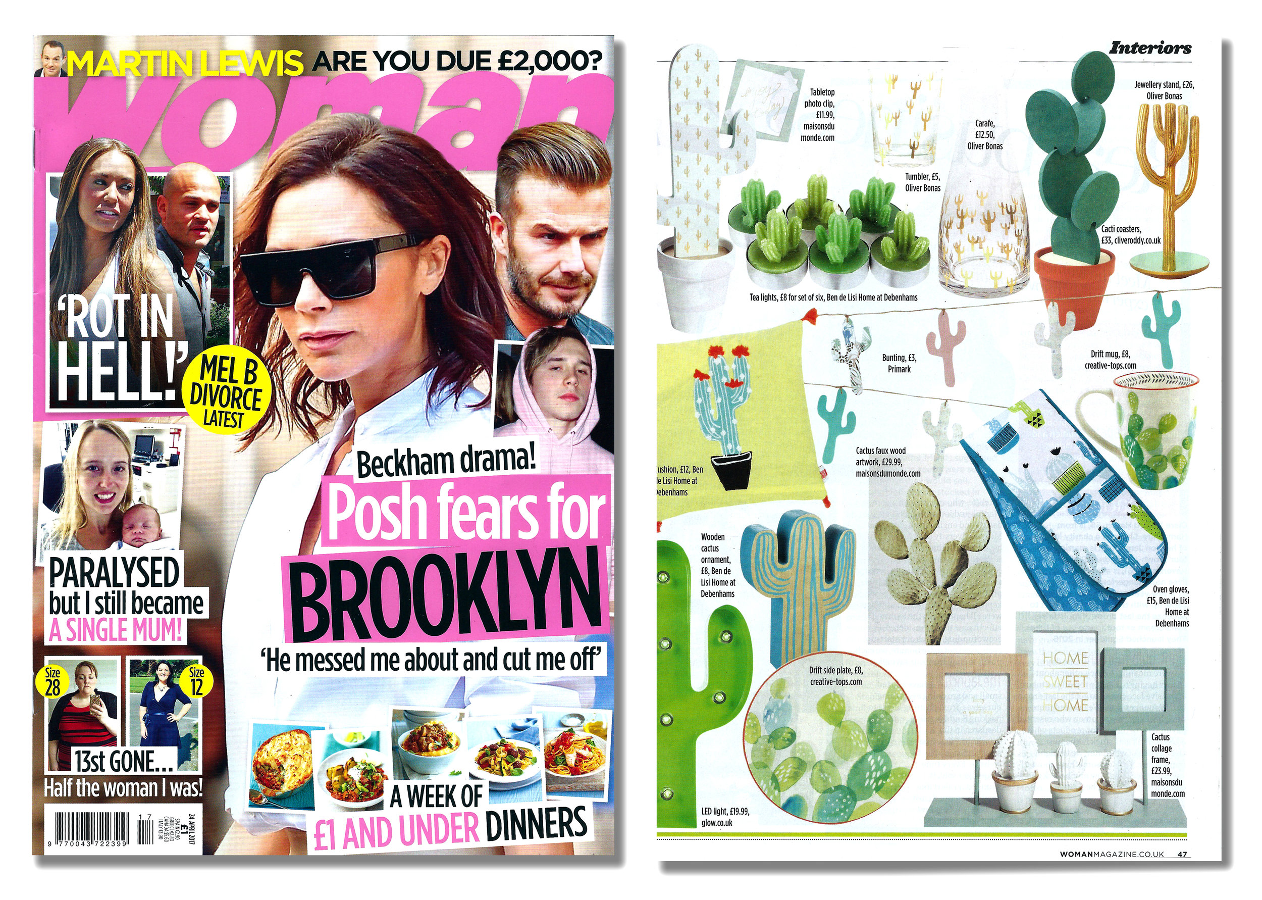 'Cacti Coasters' featured in Woman Magazine  . Published in April 2017. UK  .