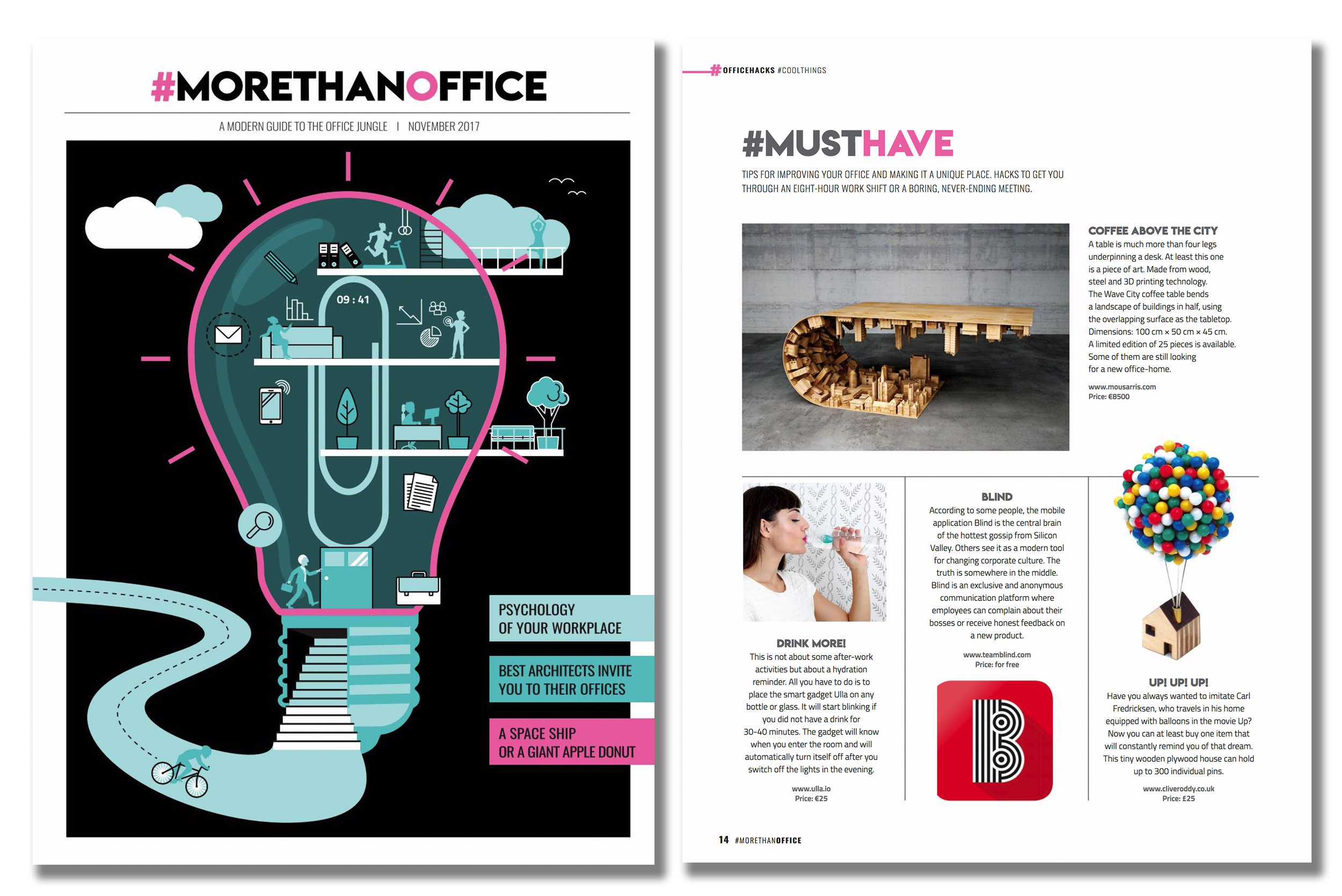 'Balloon Pin House' featured in #Morethanoffice Magazine. Published in November 2017. Czech Republic.