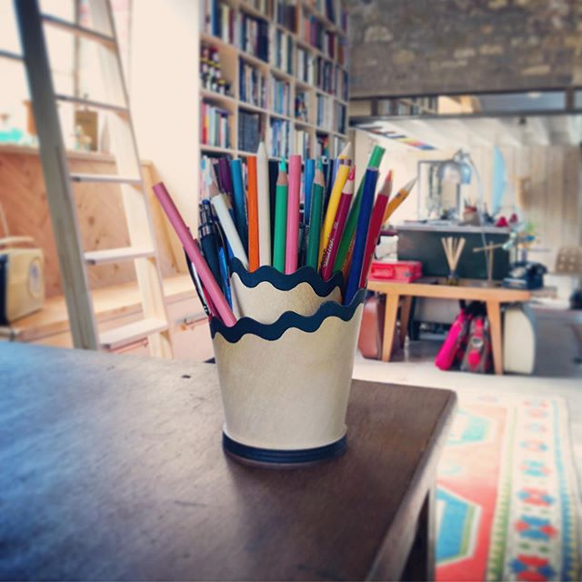 Pencil Shaving Desk Tidy put to good use in this awesome creative studio space.