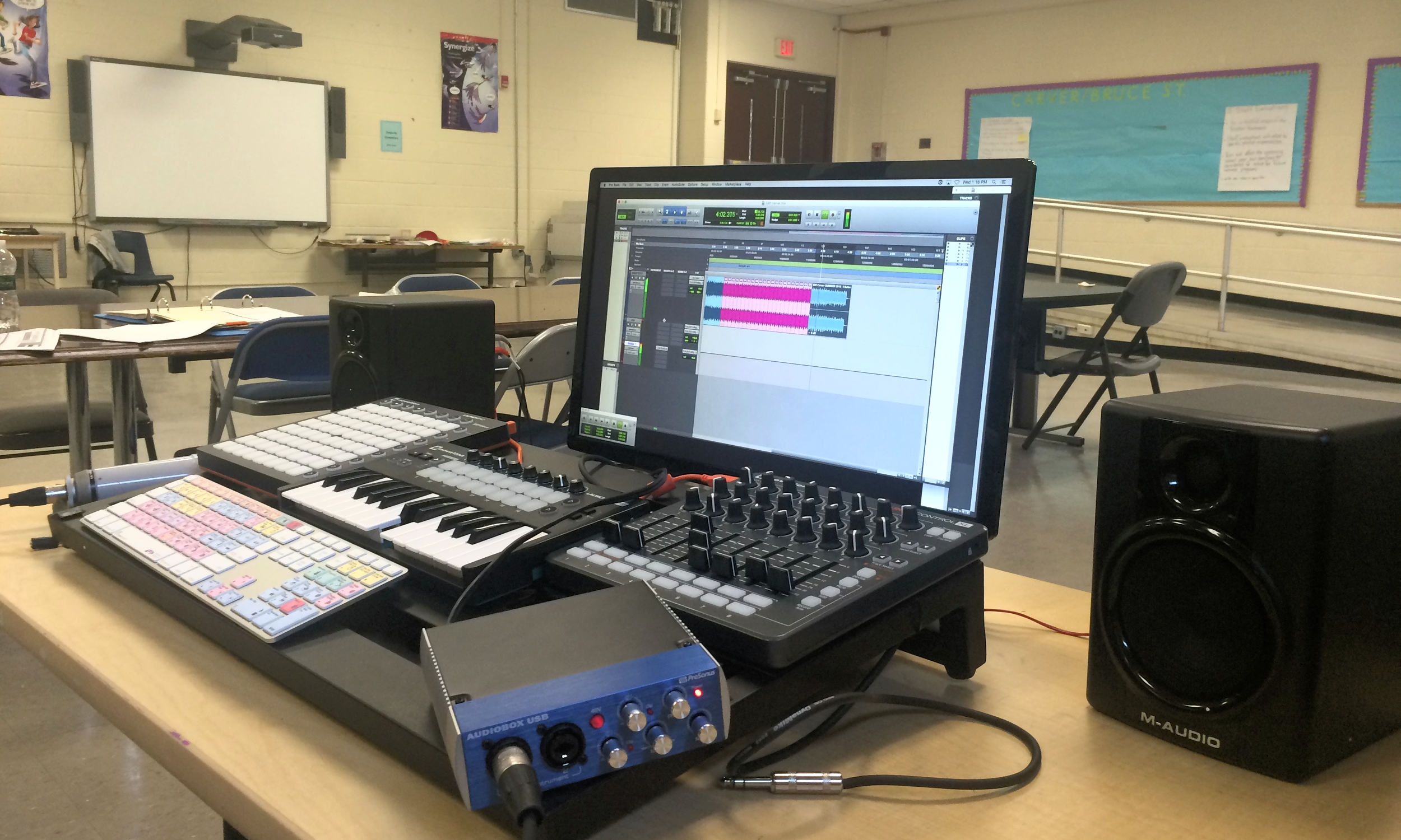 Our mobile Digital Audio Workstation will transform your classroom into a recording studio.