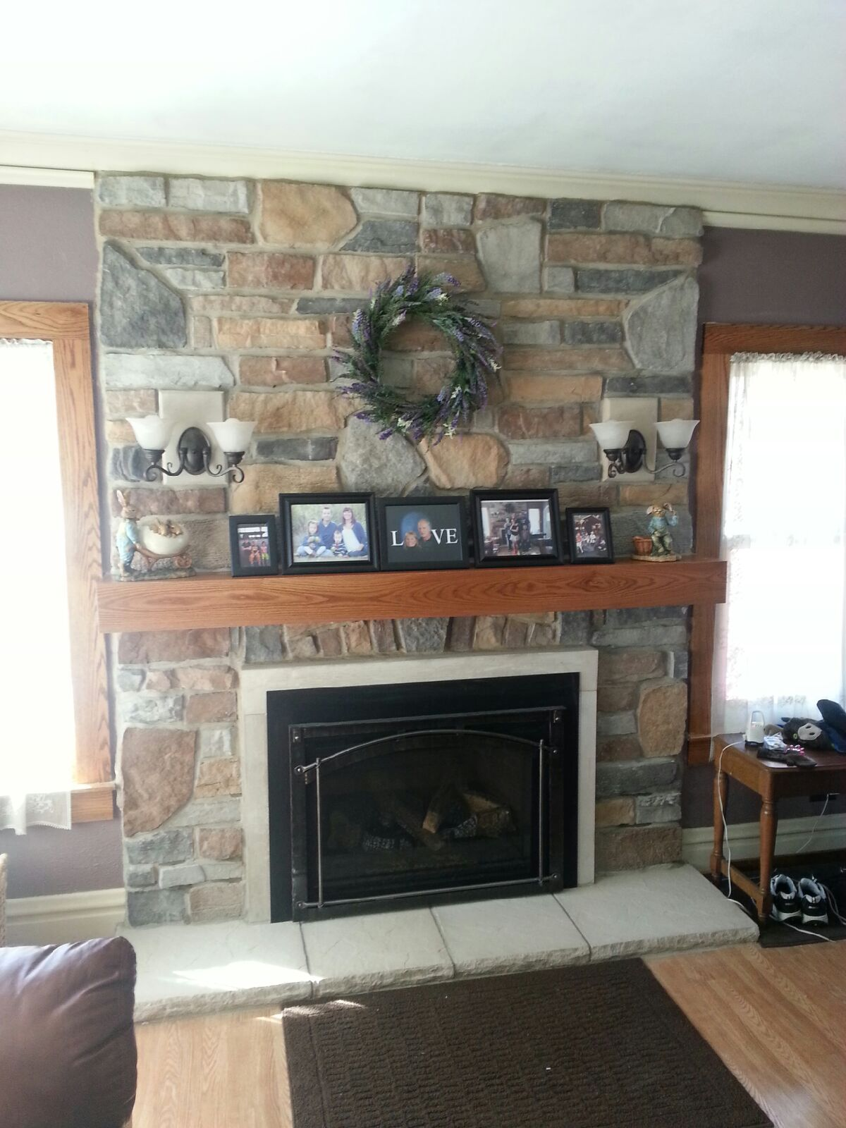 Escape Insert w/ Stone Work, Mantel and Lighting