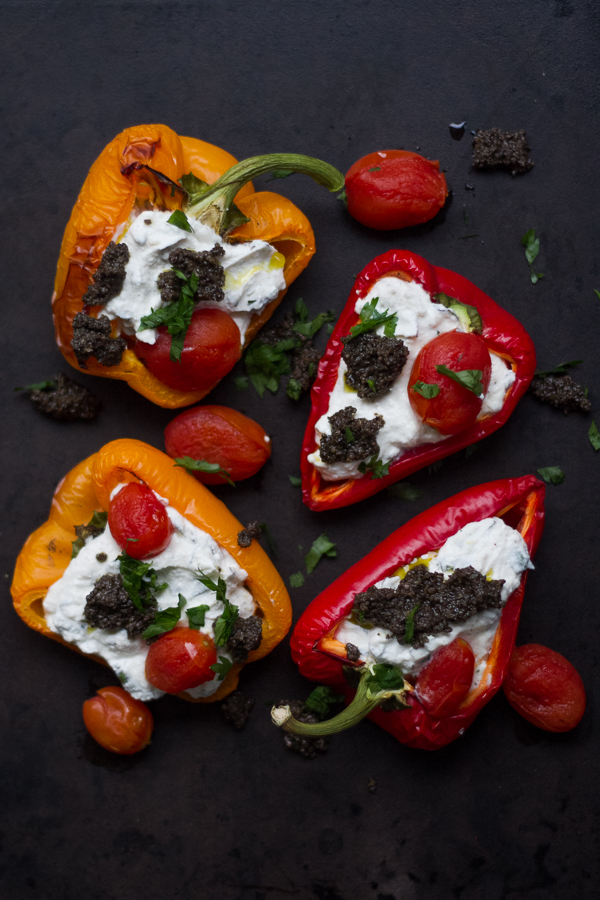 Roasted Pepper with Ricotta, Cherry Tomatoes, and Olives