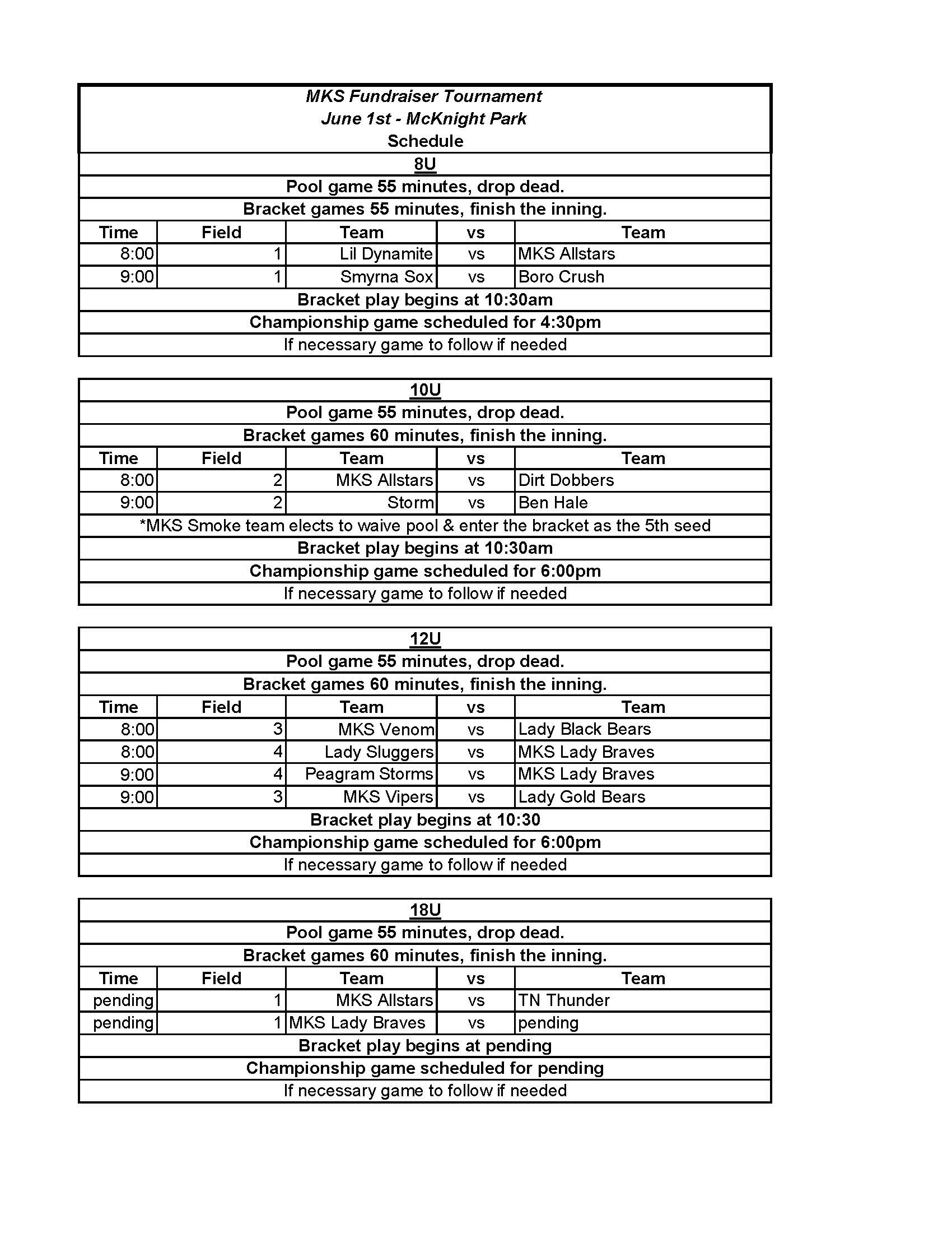 Tournament Schedule - Click to download