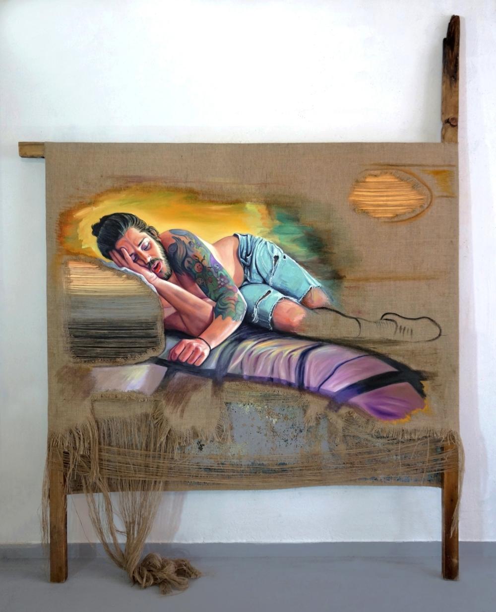 Alexandros, 2016, oil on burlap, acrylic, salvaged wood, 230x176cm