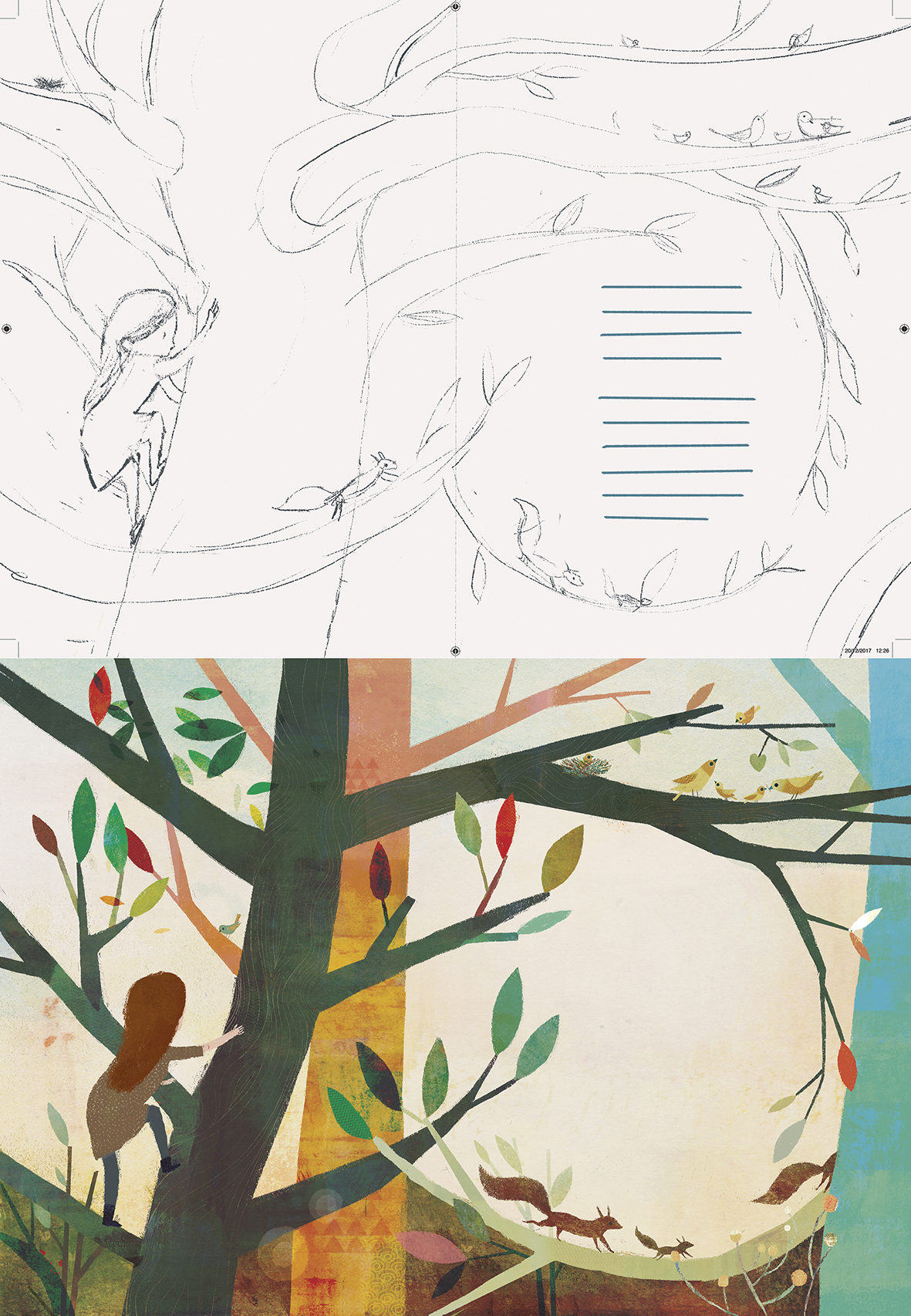 Finally, I think this is my favourite spread from our story. I like the soft curve of the branches around the type and the contrasting colours of the trees. As is usual for a project of this nature, there were several versions along the way, however, they mostly stayed true to the initial concept sketch. The image at the top is my first pencil outline for the page with the final painted art below.