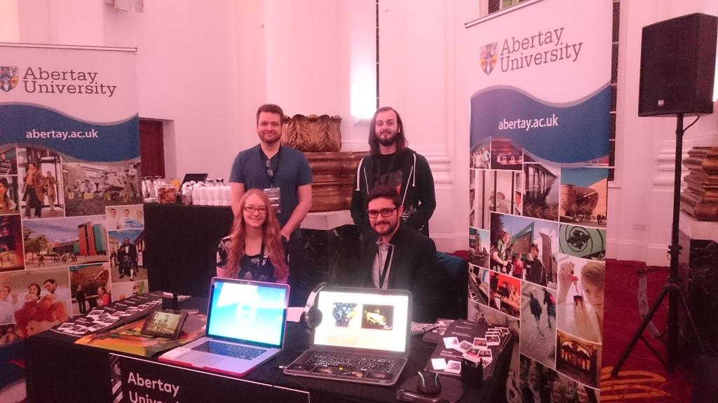 Photo of Abertay at the Creative Skillset Showcase (Thanks to @JessHider)
