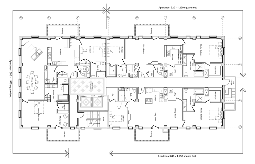 Residences Floor Plans  click to enlarge  (Units 600 & 640 Available, Unit 620 has been Sold)