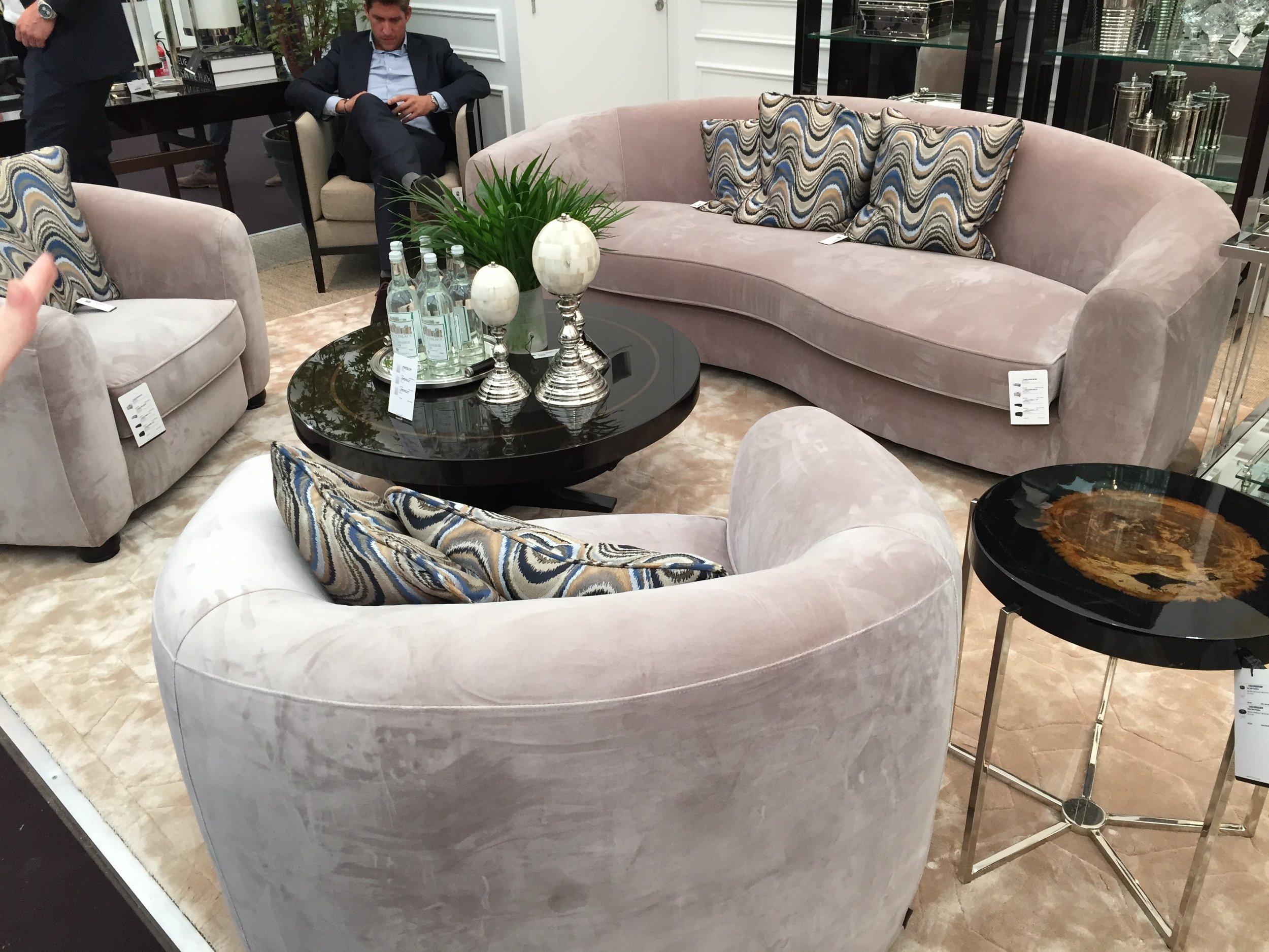Decorex 2016 - Curved upholstered sofa in pale pink | Masha Shapiro Agency.JPG