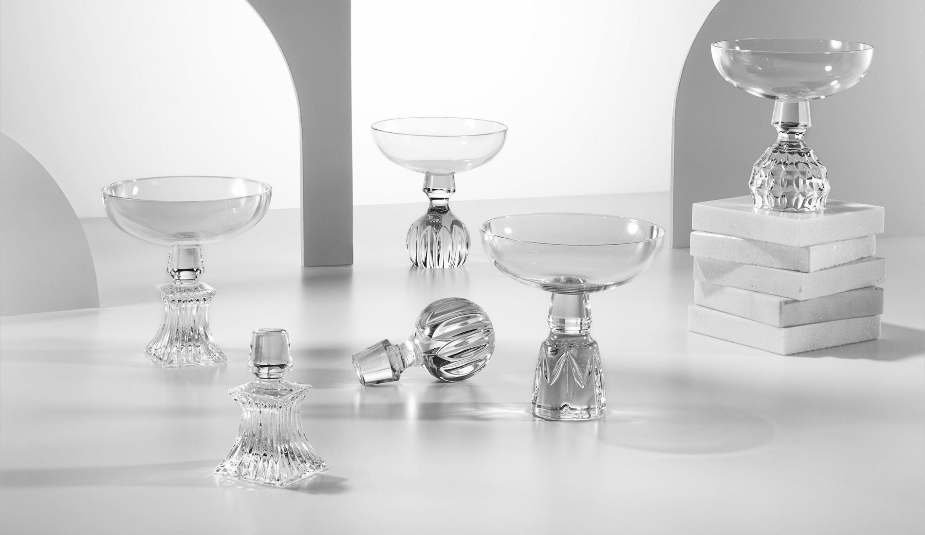 Interiors Advent Calendar - Half-cut champagne glasses by Lee Broom | Masha Shapiro Agency.jpg