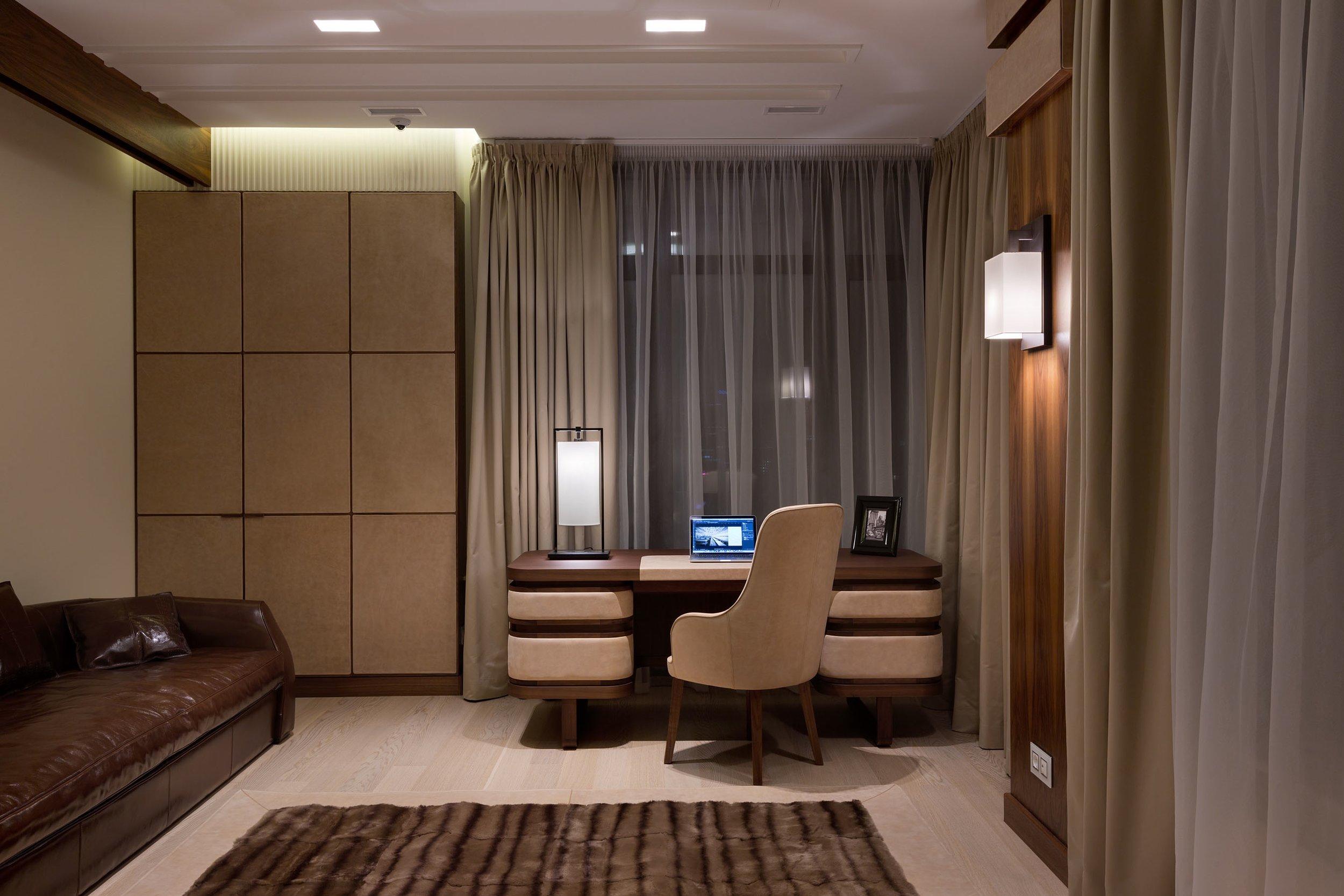 Ulivi Salotti Infinity line - Home office by Nataly Bolshakova Interior Design Studio - An Ode to Leathers @ Masha Shapiro Agency.jpg