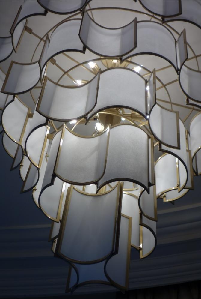 Officina Luce SHADE chandelier, luxury lighting, London via BCS Agencies UK