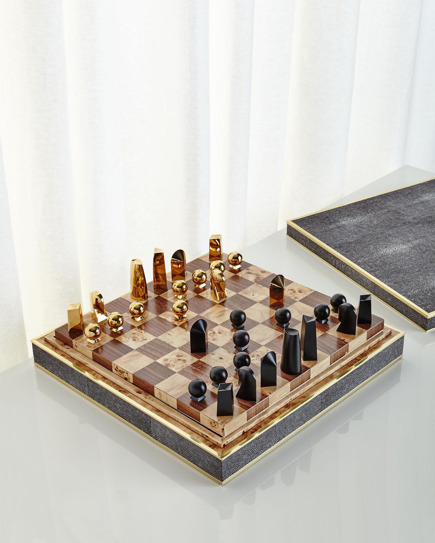 Interiors Advent Calendar - Chocolate shagreen chess-set by AERIN - Masha Shapiro Agency UK.jpg