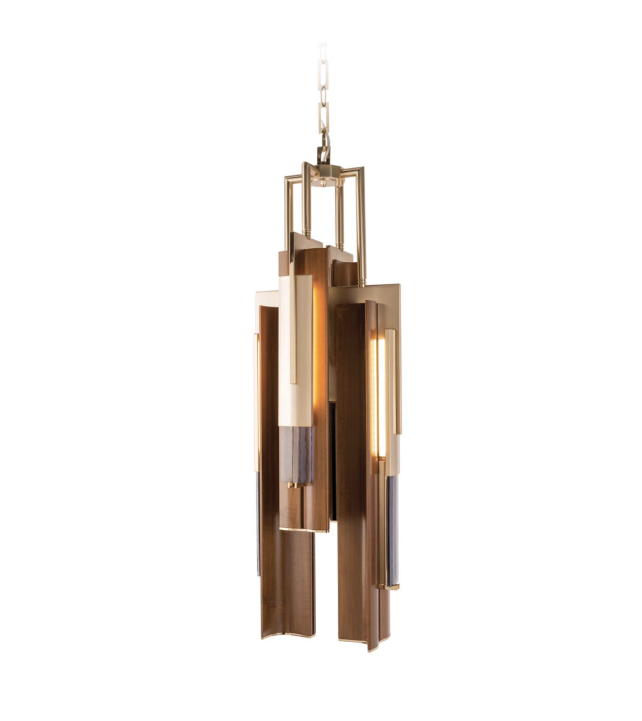 Officina Luce Anima pendant in walnut wood and light gold finish via Masha Shapiro Agency UK.jpg