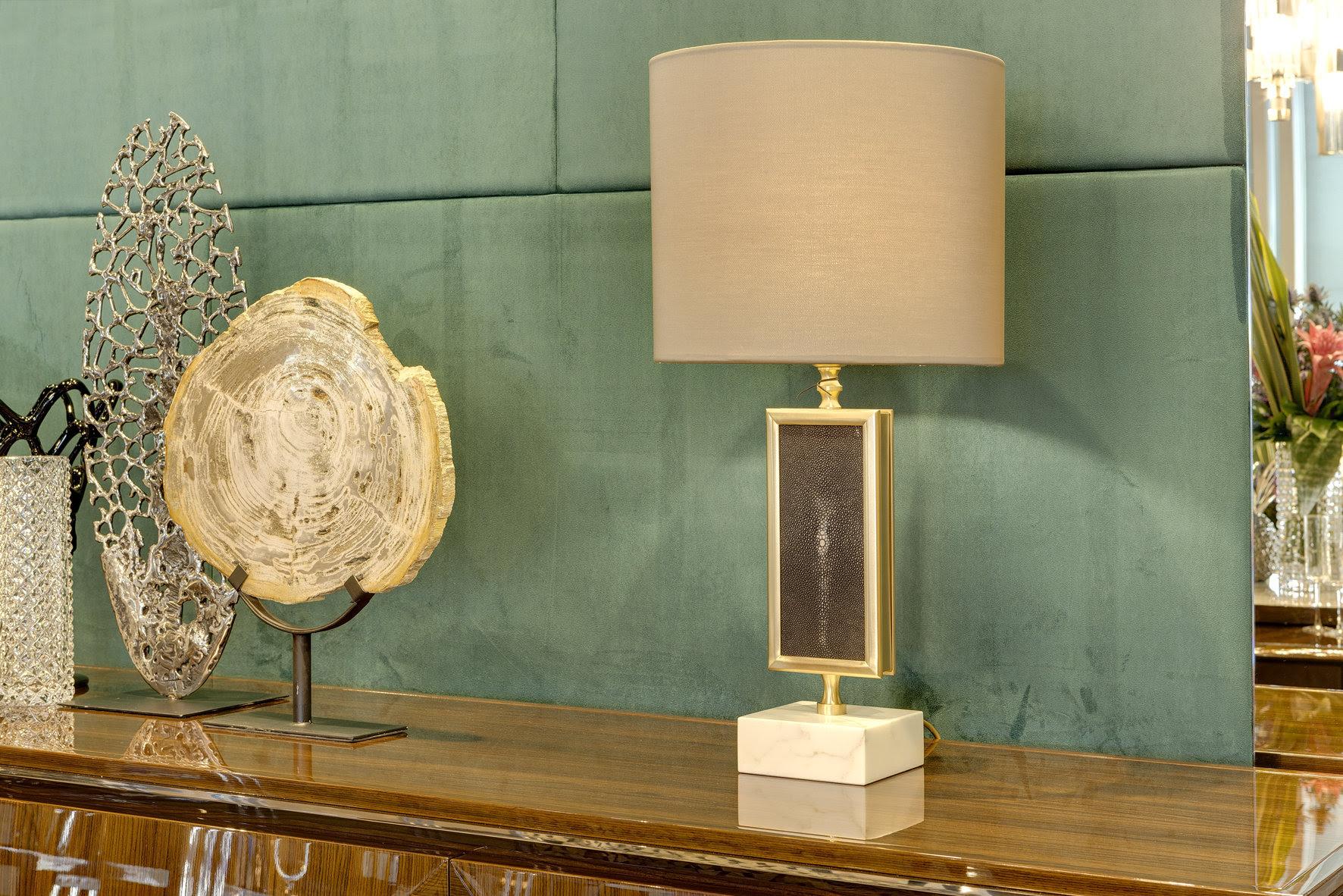 MSH at Salone - Officina Luce new Flute tble lamp with shagreen detail - Masha Shapiro Agency UK .jpg