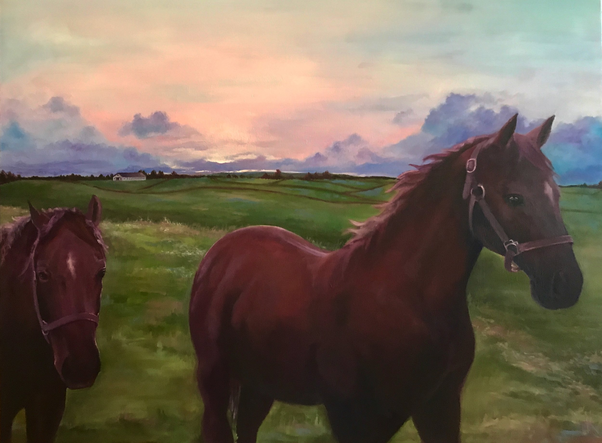 """Kentucky Twin Stars""  30 x 40 inch, oil on canvas."