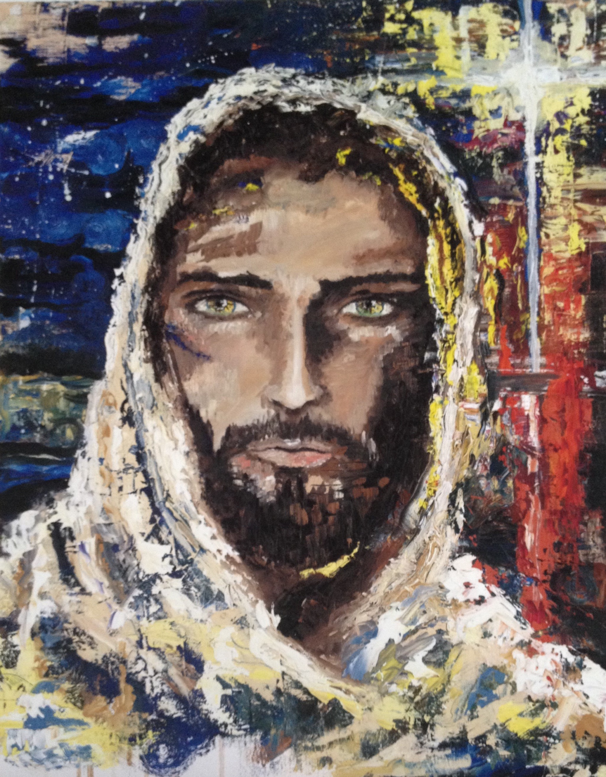 """Jesus, the Bright & Morning Star""   20 x 16 inch, oil on canvas   SOLD"