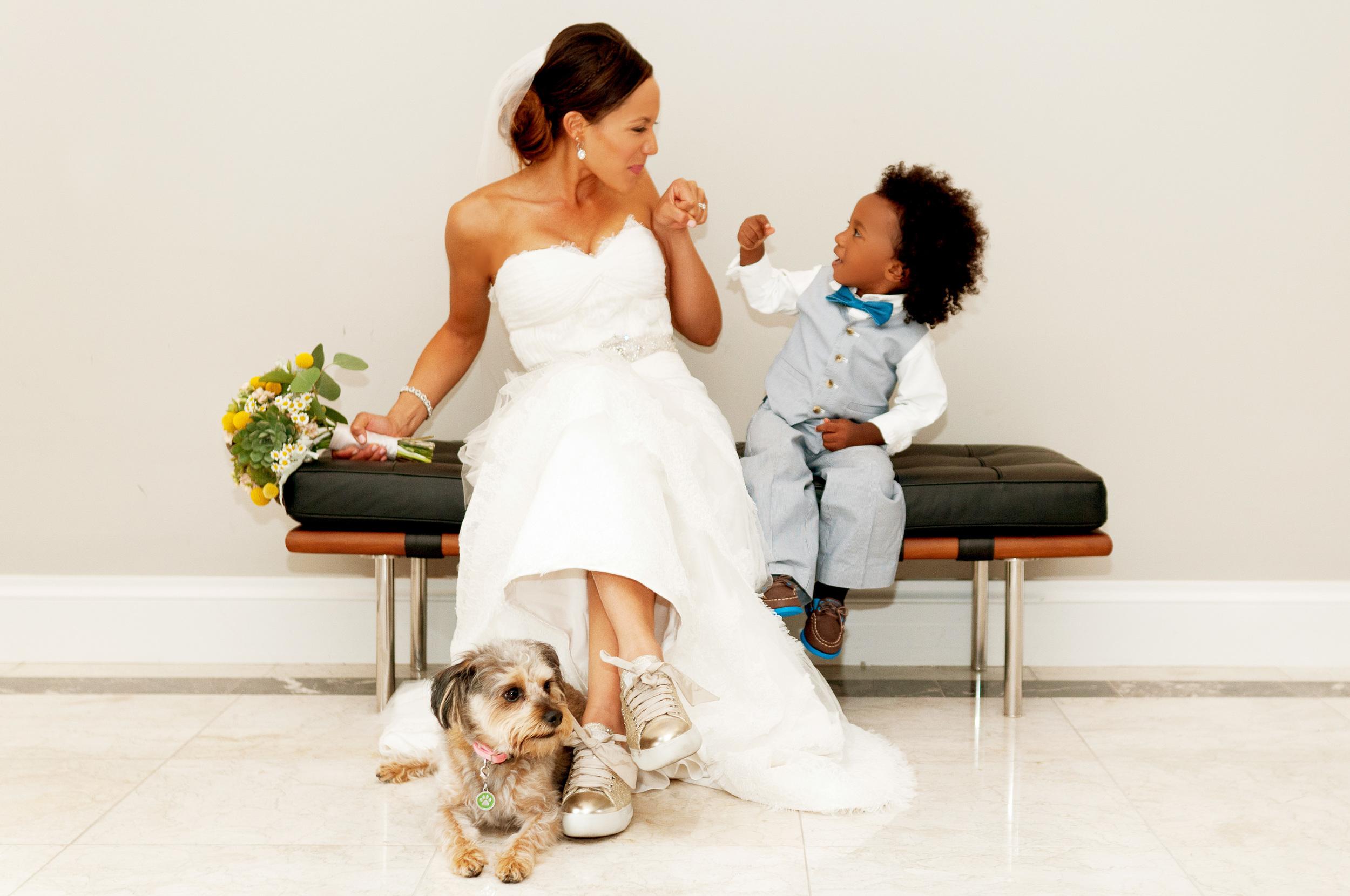 Cute bride and son photo