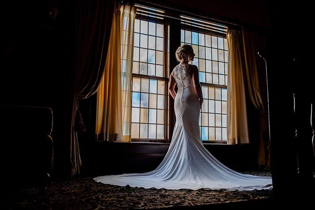 Stain glass windows, flowing white wedding dresses, and gorgeous light that fills the frame...